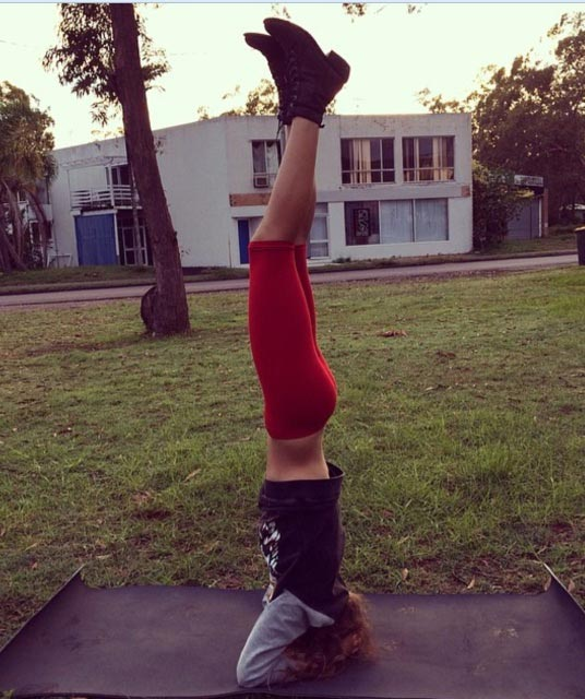 Isabelle Cornish headstand pose