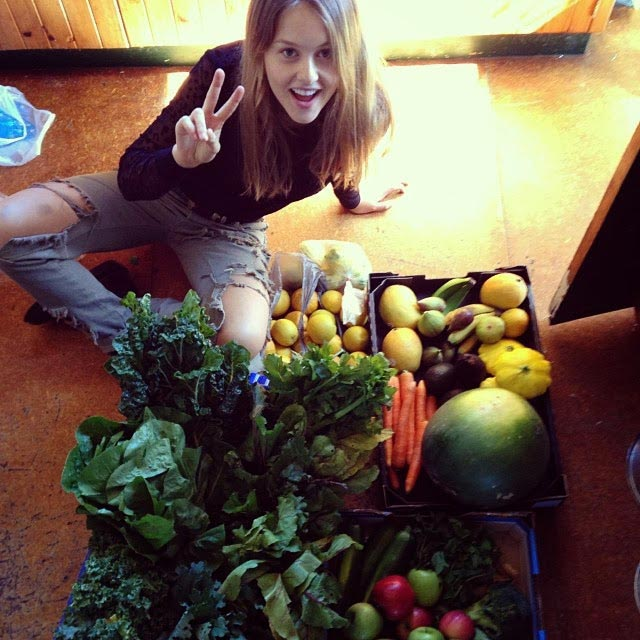 Isabelle Cornish with veggies