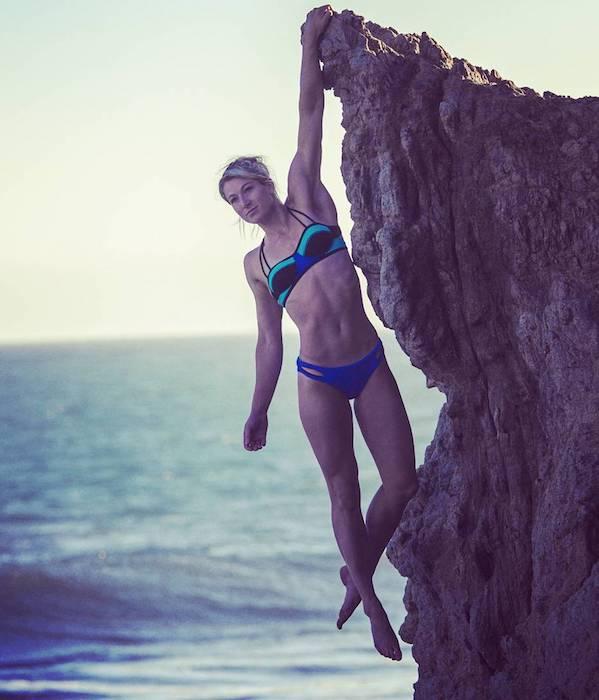 Jessie Graff climbing rock