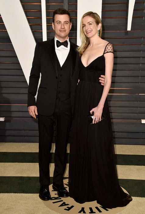 Jimmy Kimmel and Molly McNearney at 2015 Vanity Fair Oscar Party