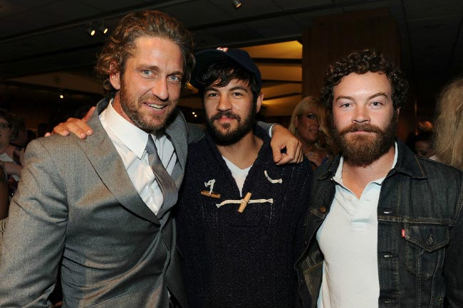Jordan Masterson (center) with his brother Danny Masterson and Gerard Butler (Left) at the Machine Gun Preacher premiere in September 2011
