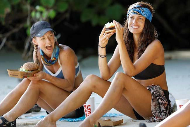 Kylie and Tegan Haining enjoy a Saanapu BBQ Burger