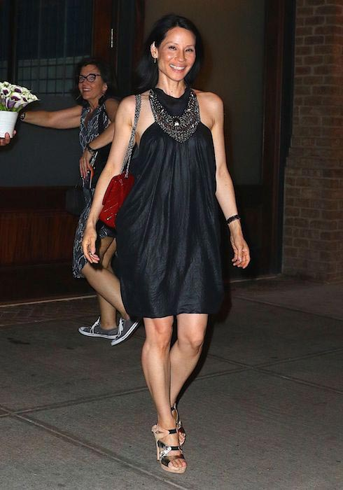 Lucy Liu leaves her hotel in New York in June 2016