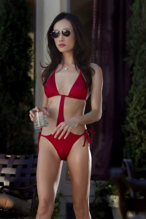 Maggie Q bikini figure red bikini show Nikita