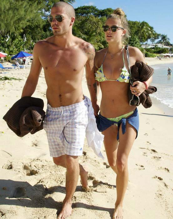 Max George shows off his toned torso while vacationing with Nina Agdal in 2013