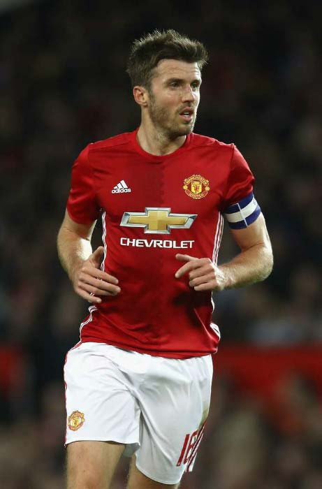 Michael Carrick in action during EFL match between Manchester United and Manchester City on October 26, 2016