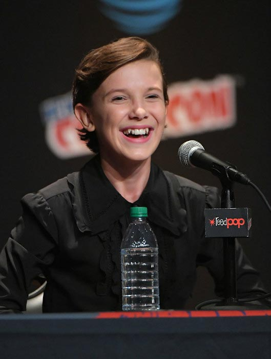 Millie Bobby Brown interacts with fans and press at 2016 New York Comic Con