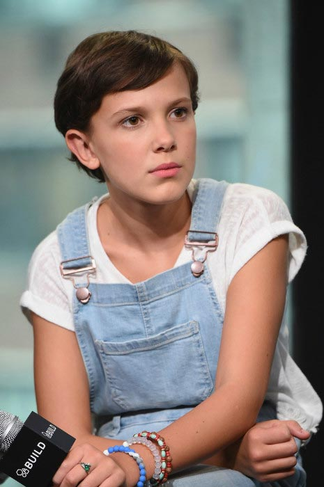 Millie Bobby Brown takes questions from the audience at BUILD Series held at AOL HQ in August 2016