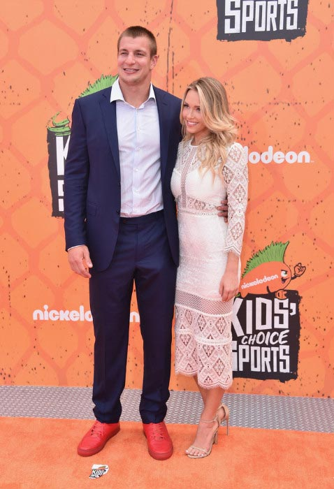 Rob Gronkowski with girlfriend Camille Kostek at Nickelodeon Kids' Choice Sports Awards 2016
