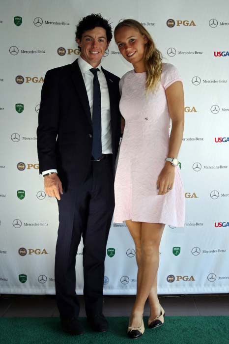 Rory McIlroy with Caroline Wozniacki at the US Golf Writers Dinner in April 2013