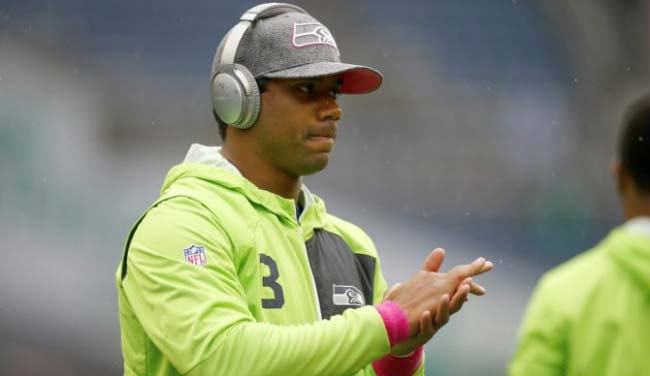 Russell Wilson warming up before a NFL game in October 2016