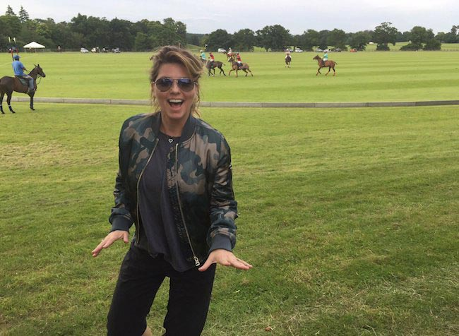 Shania Twain showing excitement before horeseback riding