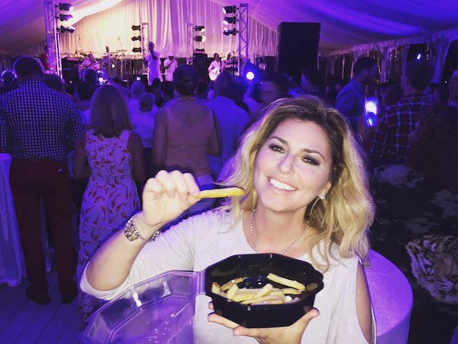 Shania Twain with French fries