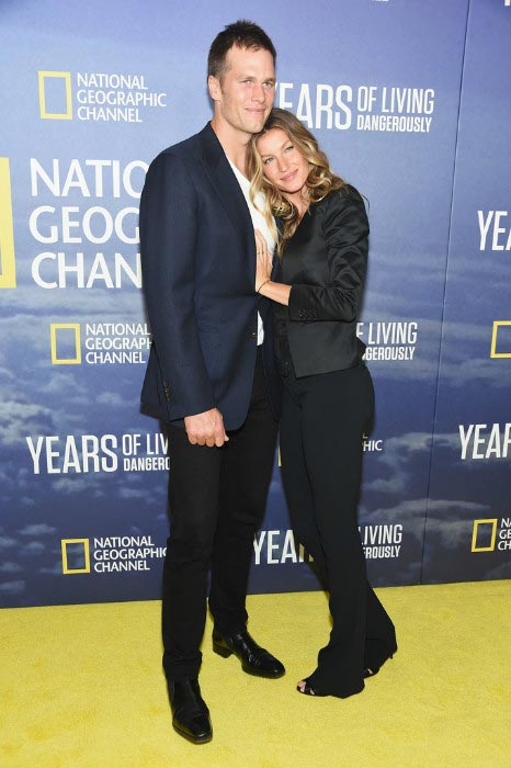 Tom Brady with wife Gisele Bundchen at the National Geographic's Years of Living Dangerously series premiere in NYC in September 2016