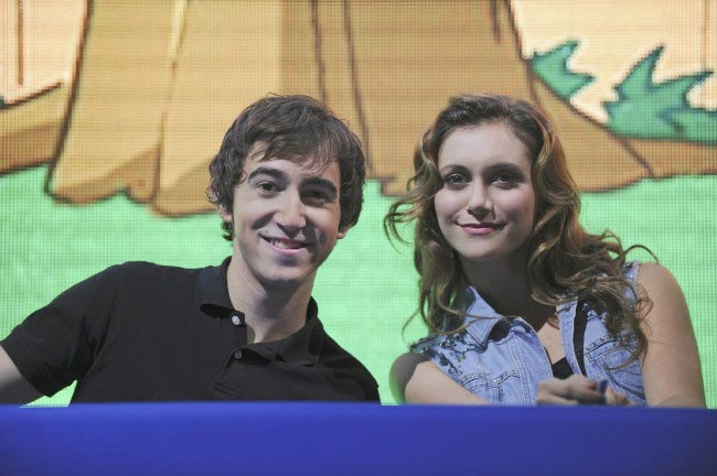 Vincent Martella and Alyson Stoner at the Phineas and Ferb panel during the 2013 Disney D23 Expo
