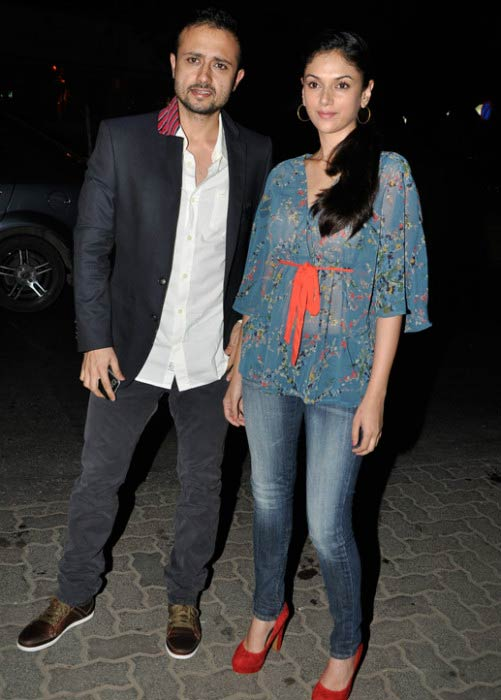 Aditi Rao Hydari and Satyadeep Mishra arriving at a private party in 2010