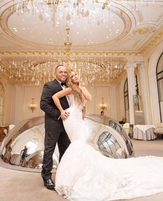 Adrienne Bailon and Israel Houghton during wedding in Paris