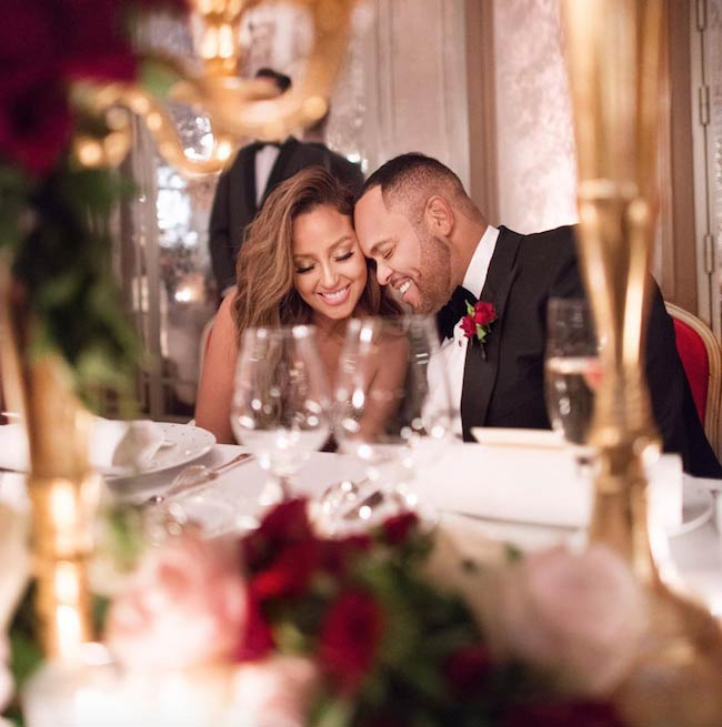Adrienne Bailon and Israel Houghton during marriage ceremony in Paris