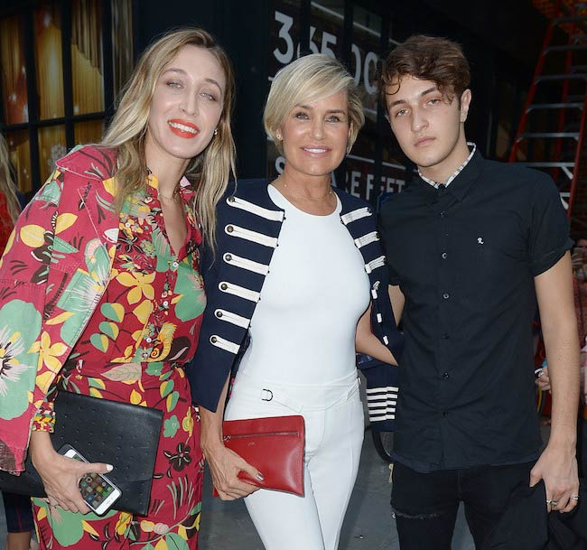 Alana Hadid, Yolanda Foster and Anwar Hadid at the #TOMMYNOW Women's Fashion Show in September 2016
