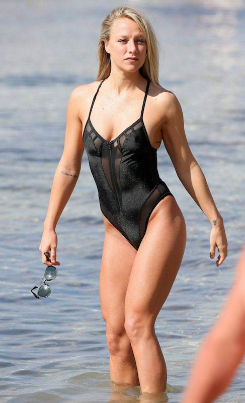 Chloe Madeley in swimsuit at a beach in Ibiza in October 2016