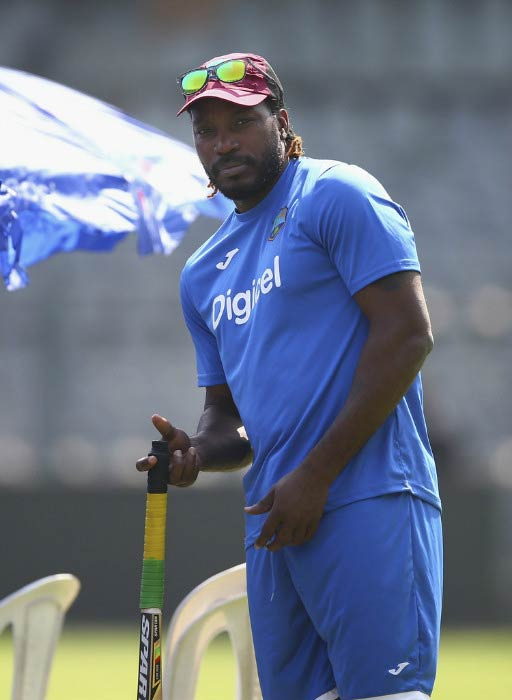 Chris Gayle at the West Indies training session during 2016 T20 World Cup