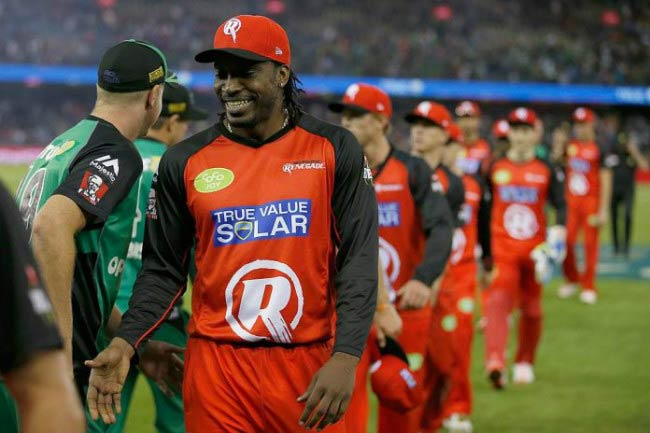 Chris Gayle after a match between the Melbourne Renegades and the Melbourne Stars in January 2016