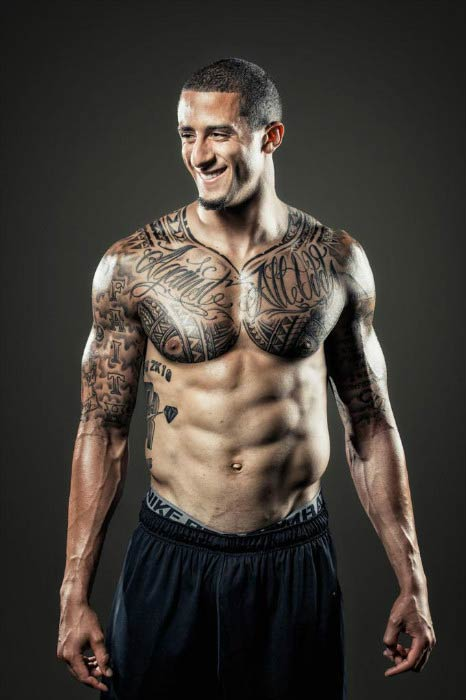 Colin Kaepernick shows off his ripped torso in a shirtless body photoshoot in 2015