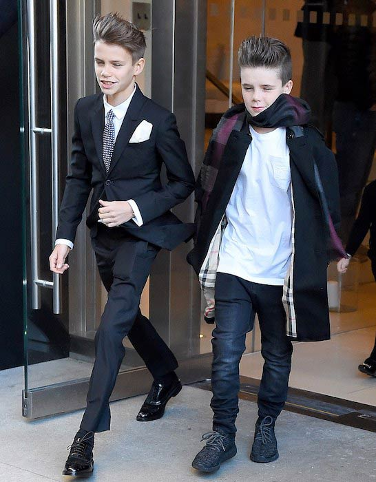 Cruz Beckham (Right) heading to New York Fashion Week in February 2016