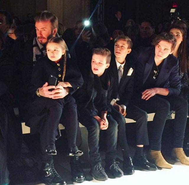 Cruz Beckham with family supporting mom Victoria during New York Fashion Week in 2016