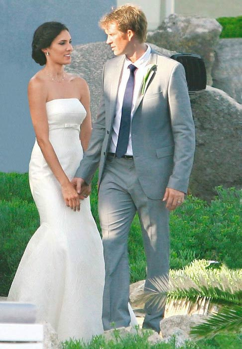 Daniela Ruah and David Olsen during their wedding in July 2014