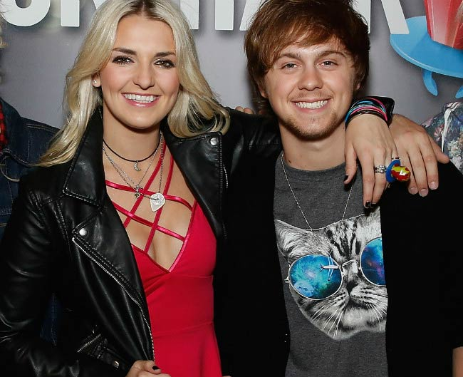 Ellington Ratliff and Rydel Lynch at the Ring Pop Premiere #RockThatRock Music Video in June 2014