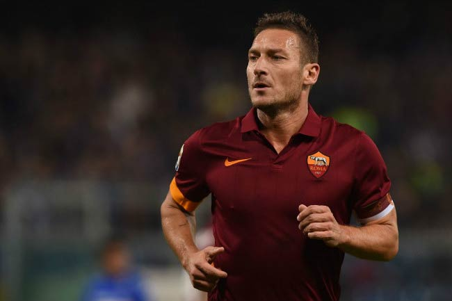 Francesco Totti at a Serie A match between UC Sampdoria and AS Roma in October 2014