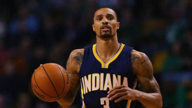 George Hill in a match between Boston Celtics and Indiana Pacers in March 2015