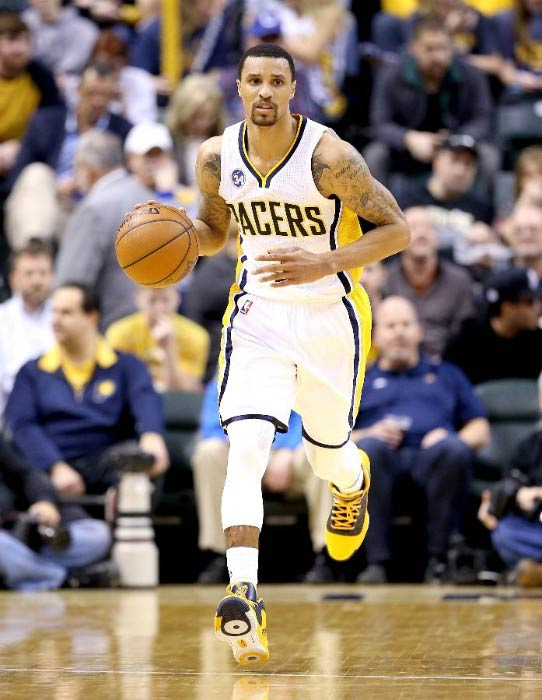 George Hill dribbles during a match between Portland Trail Blazers and Indiana Pacers in February 2016