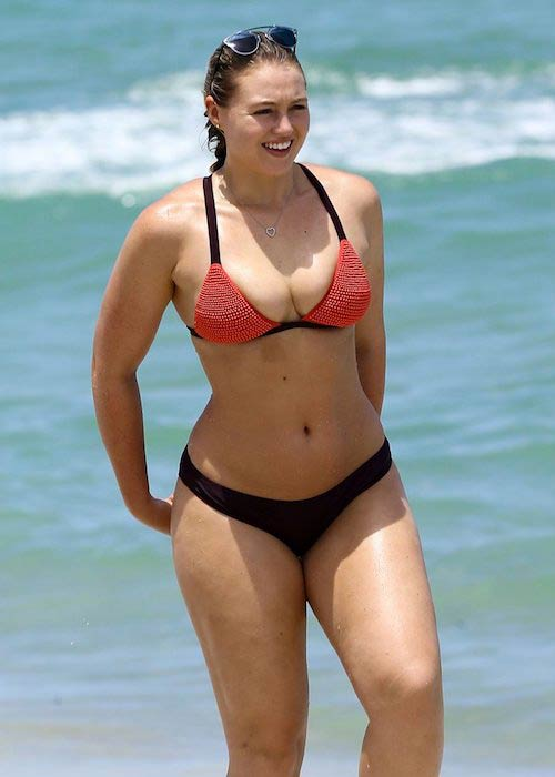 Iskra Lawrence in bikini on Miami Beach in July 2016