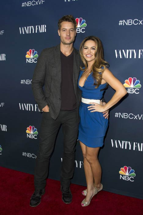 Justin Hartley and Chrishell Stause at the NBC and Vanity Fair Toast in November 2016