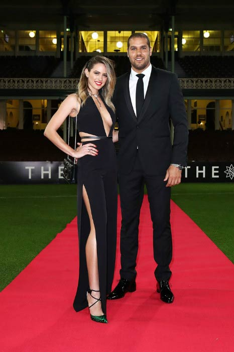 Lance Franklin and Jesinta Campbell at Sydney Swans function before 2016 AFL Brownlow Medal ceremony in September 2016