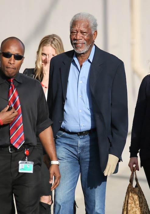 Morgan Freeman heading to Jimmy Kimmel Live! studio on March 2, 2016