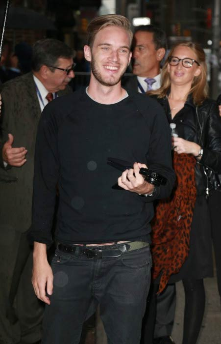 PewDiePie arriving for appearance in Late Show With Stephen Colbert in New York City in October 2015