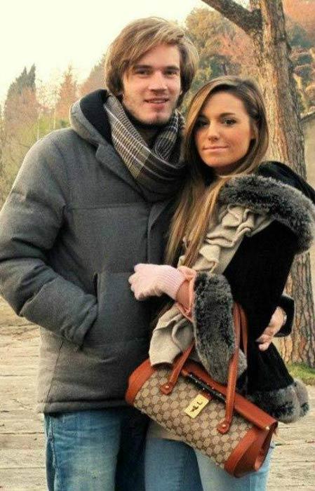 PewDiePie and Marzia Bisognin in 2015
