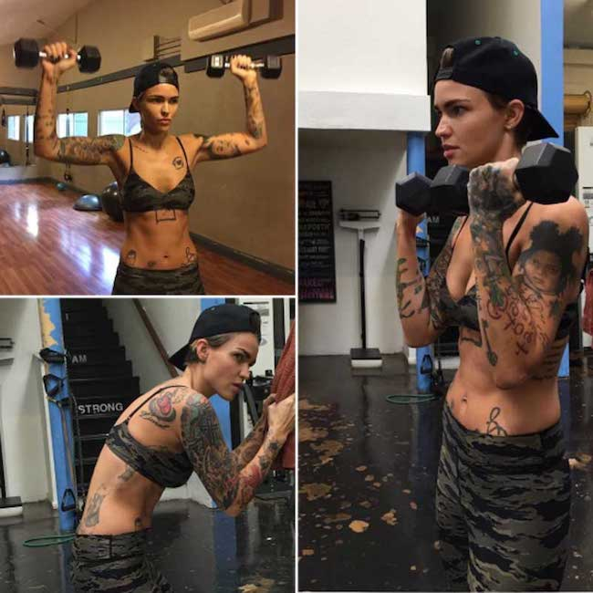 Ruby Rose dumbbell workout