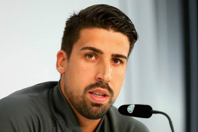 Sami Khedira speaks at the German National Team press conference in Switzerland on May 31, 2016