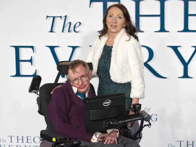 "Stephen Hawking and Jane Wilde at the release of Hawking biopic ""The Theory of Everything"" in December 2014"