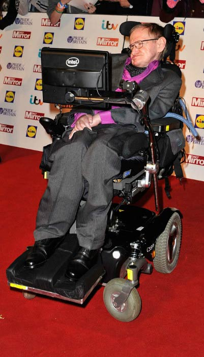 Stephen Hawking at the Pride Of Britain awards in October 2013
