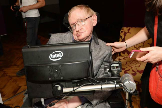 Stephen Hawking at the closing night party for 'Monty Python Live (Mostly)' in June 2014