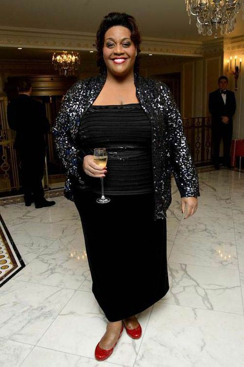 Alison Hammond with a drink