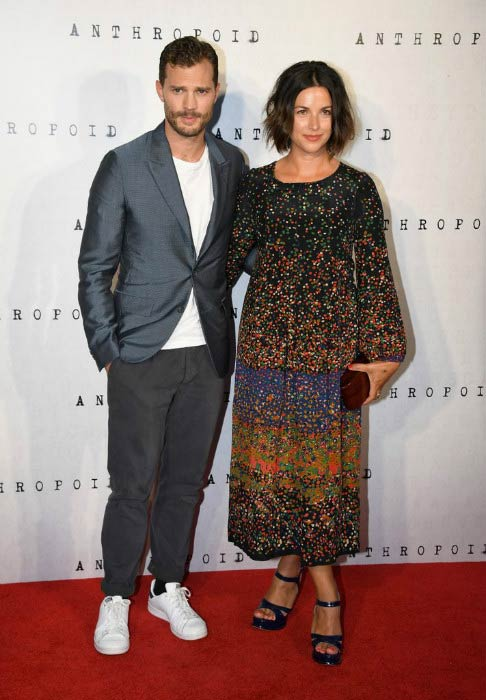 "Amelia Warner and her husband Jamie Dornan at the ""Anthropoid"" UK film premiere in August 2016"