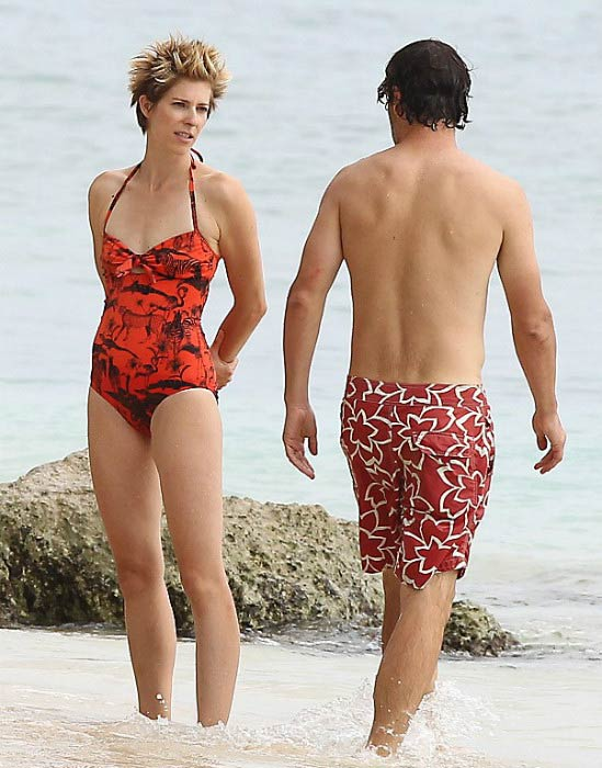 Andrew Lincoln and his wife Gael Anderson on the Caribbean beach in August 2013