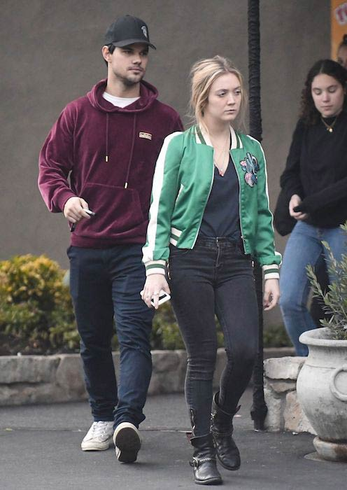 Billie Lourd and Taylor Lautner at Pinz Bowling Center in Studio City in January 2017