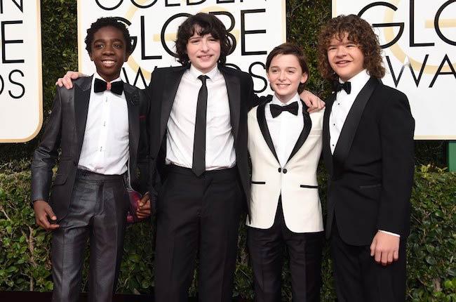 Caleb McLaughlin, Finn Wolfhard, Noah Schnapp, and Gaten Matarazzo at Golden Globe Awards 2017